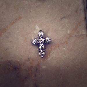 Jewelry - 14k gold CZ petite dainty cross pendant
